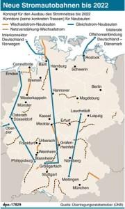 Neue Stromautobahnen bis 2022